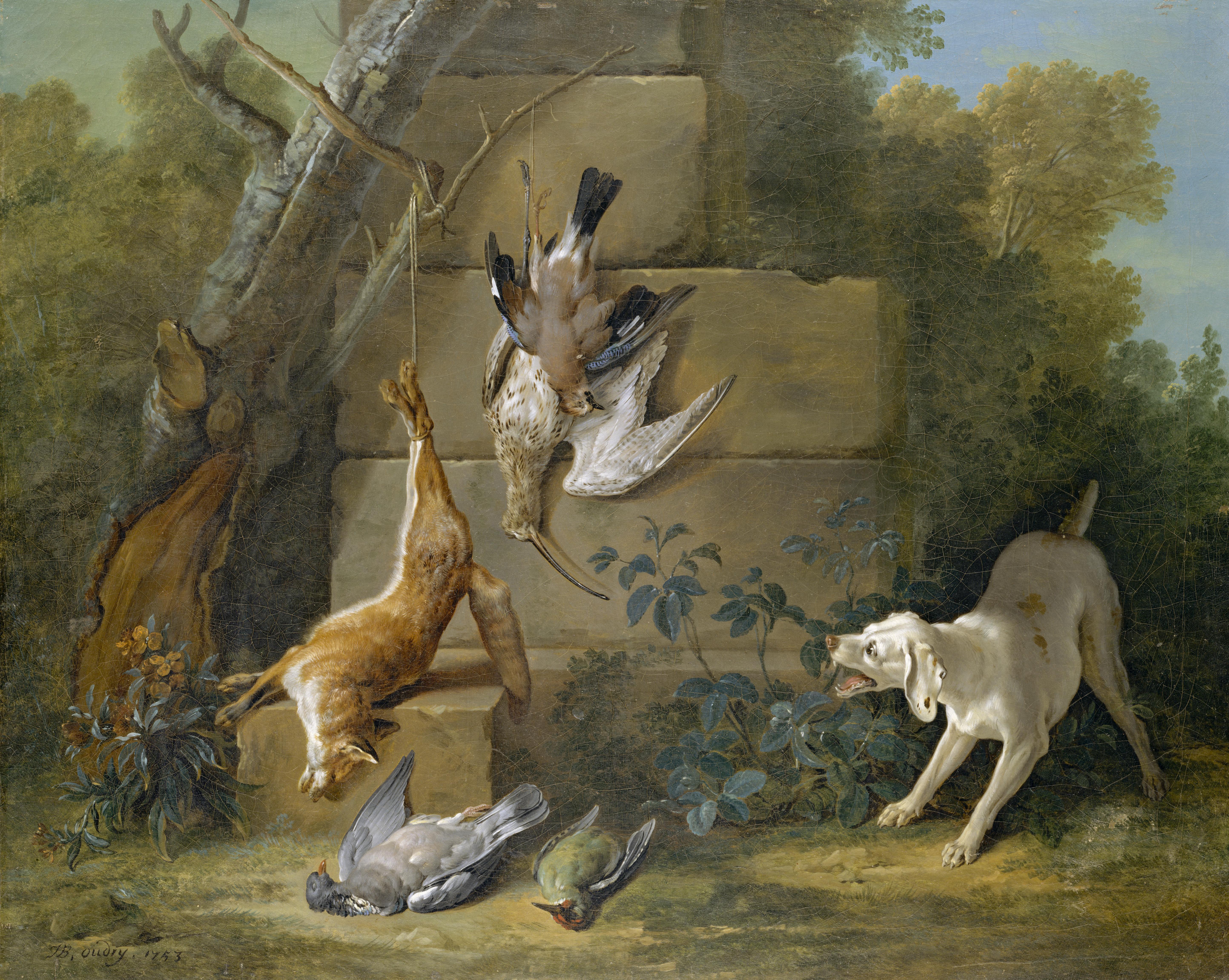 File:Jean-Baptiste Oudry - Dog Guarding Dead Game jpg - Wikimedia