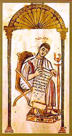 A Syriac Christian rendition of St. John the Evangelist, from the Rabbula Gospels. John the Evangelist (Rabbula Gospels).jpg