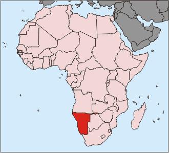 Position Namibias in Afrika