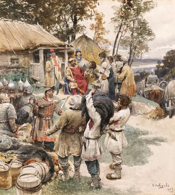 К. В. Лебедев. Князь Игорь собирает дань с древлян в 945 году