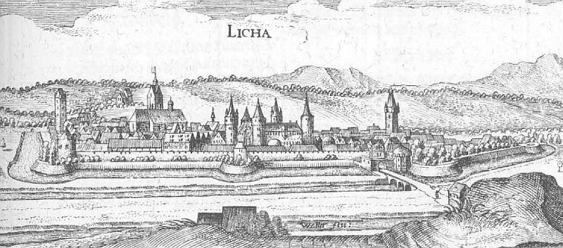 Stadtansicht Lich, von Merian