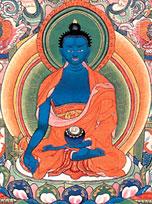 Bhai?ajyaguru, il Buddha della medicina in una antica versione tibetana. La mano destra è posta in basso nel