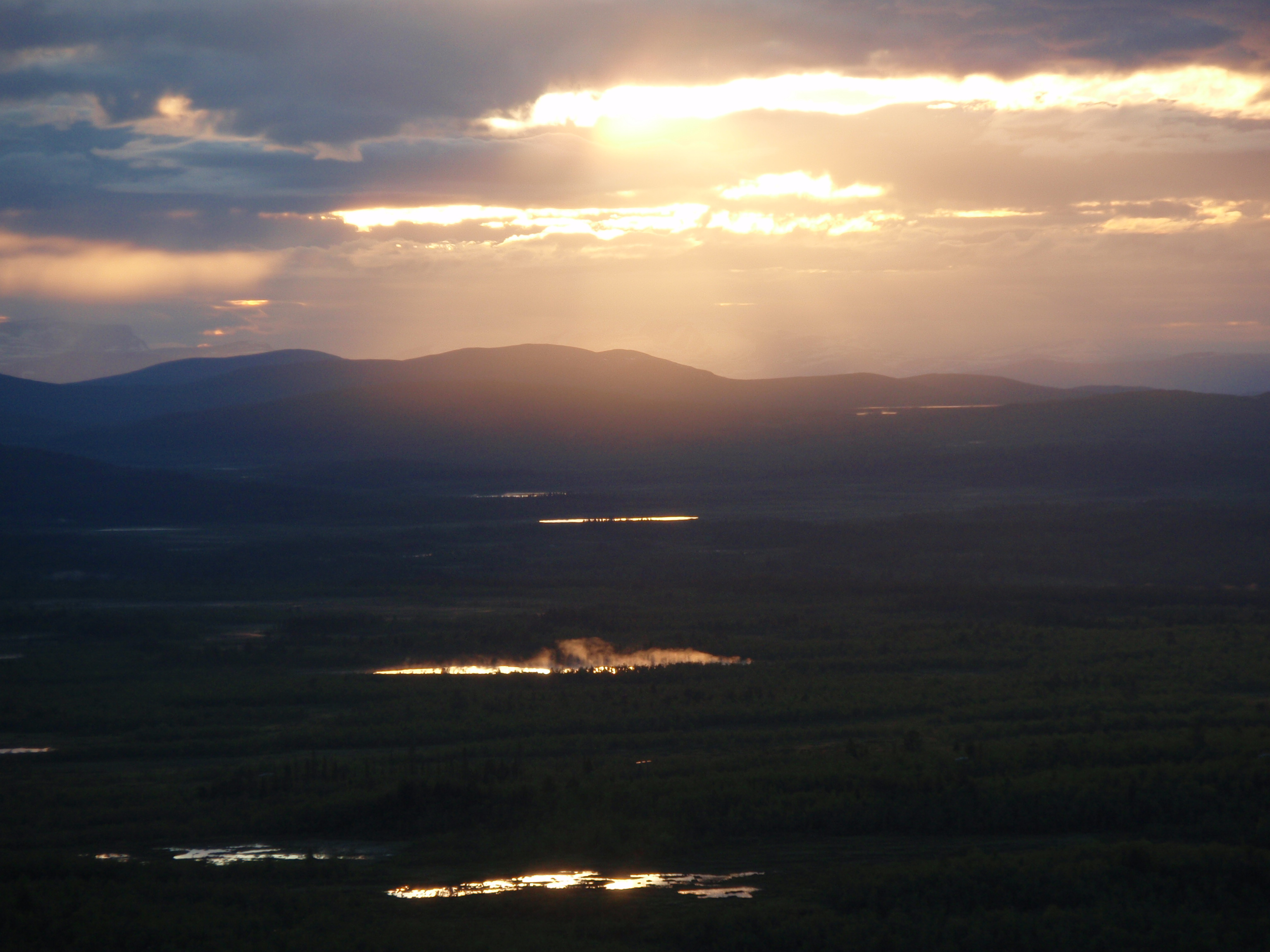Midnight sun in Kiruna, Sweden.