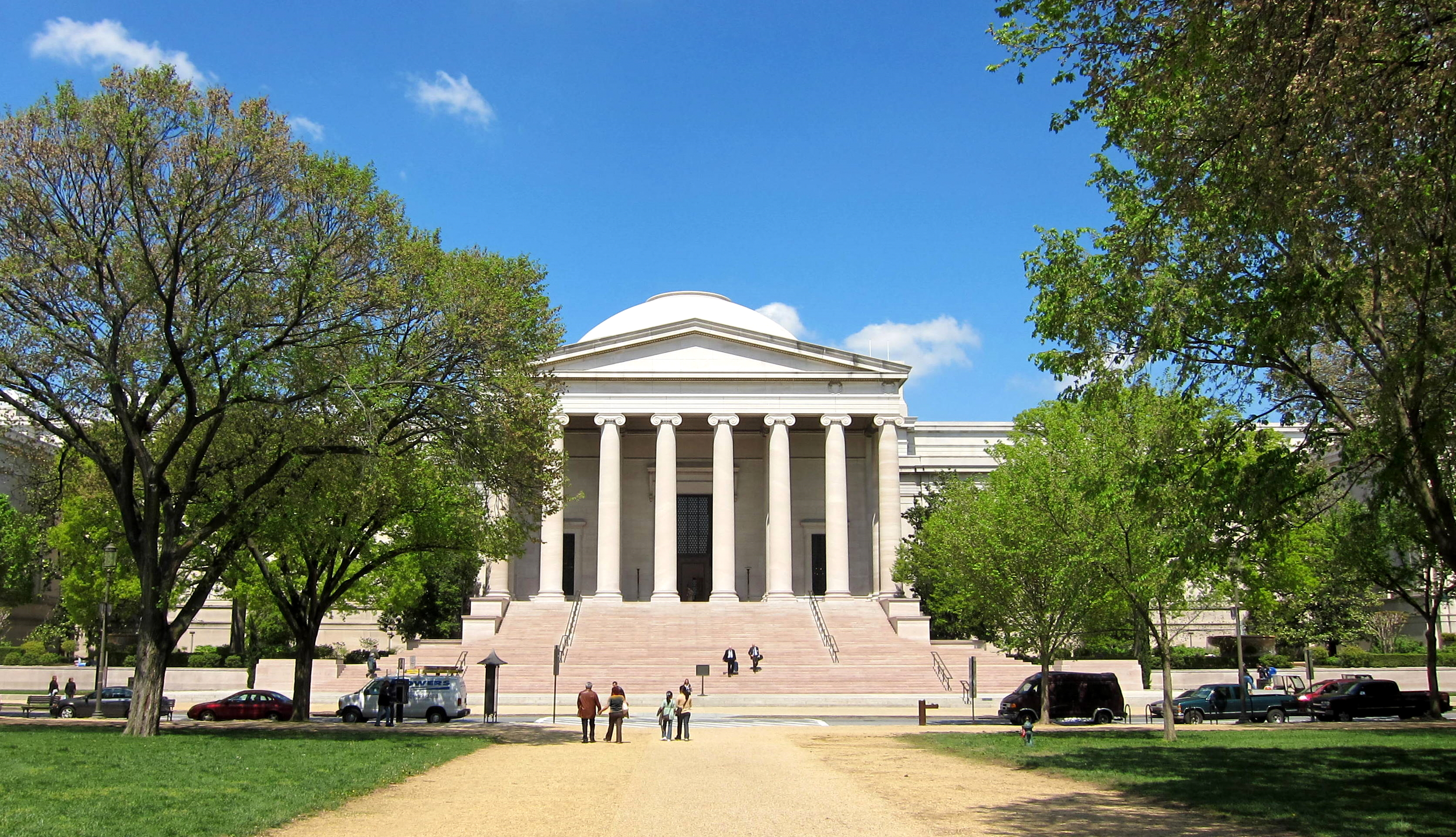 The south facade, seen from the mall's walking path, of the West Building of the National Gallery of Art