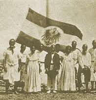 3 October 1888: Annexation ceremony w. King Auweyida at the centre Nauru Annexation Germany 1888.jpg