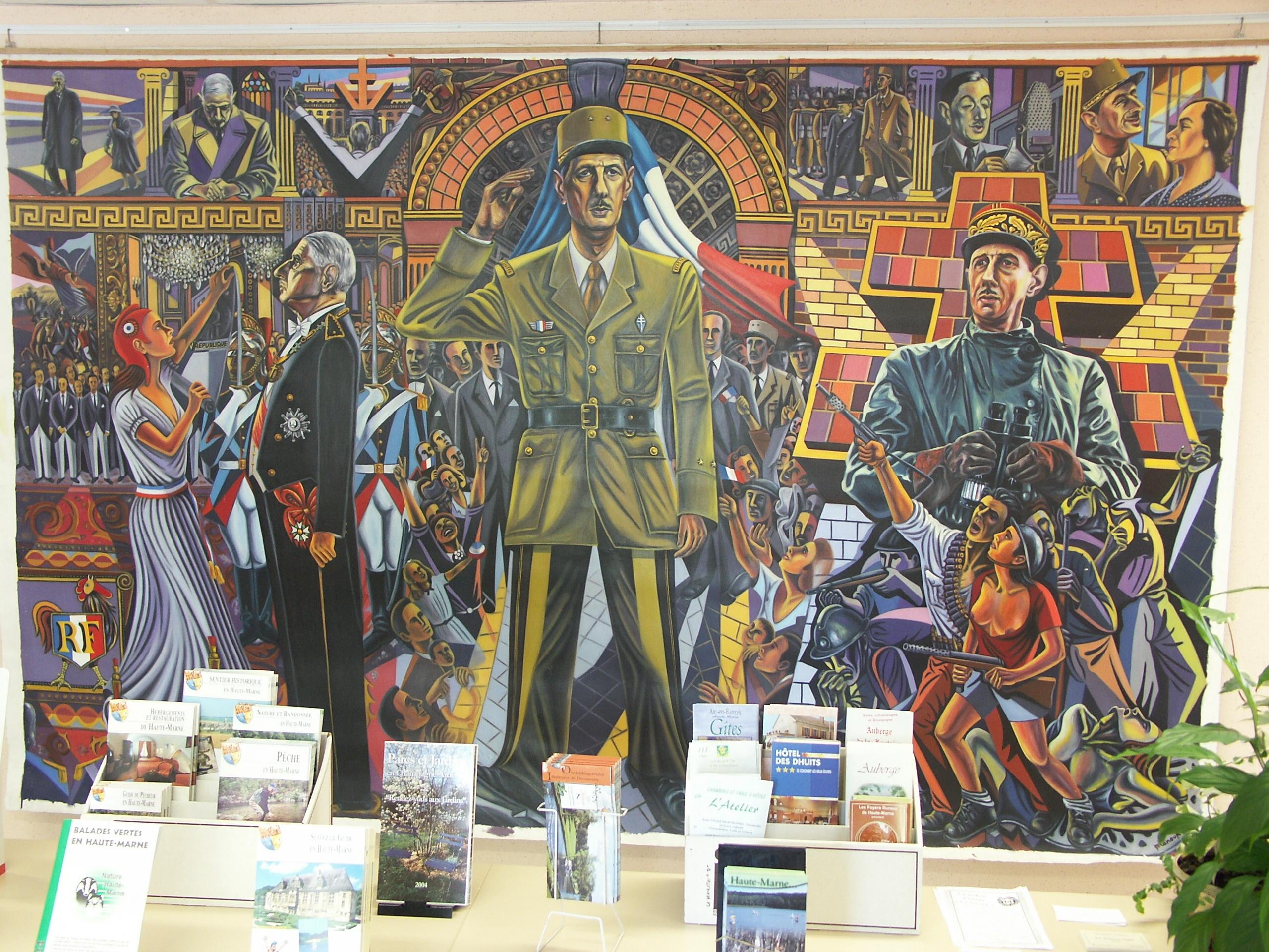 Väggdekoration i turistbyrån i Colombey-les-Deux-Églises, med scener ur Charles de Gaulles liv.