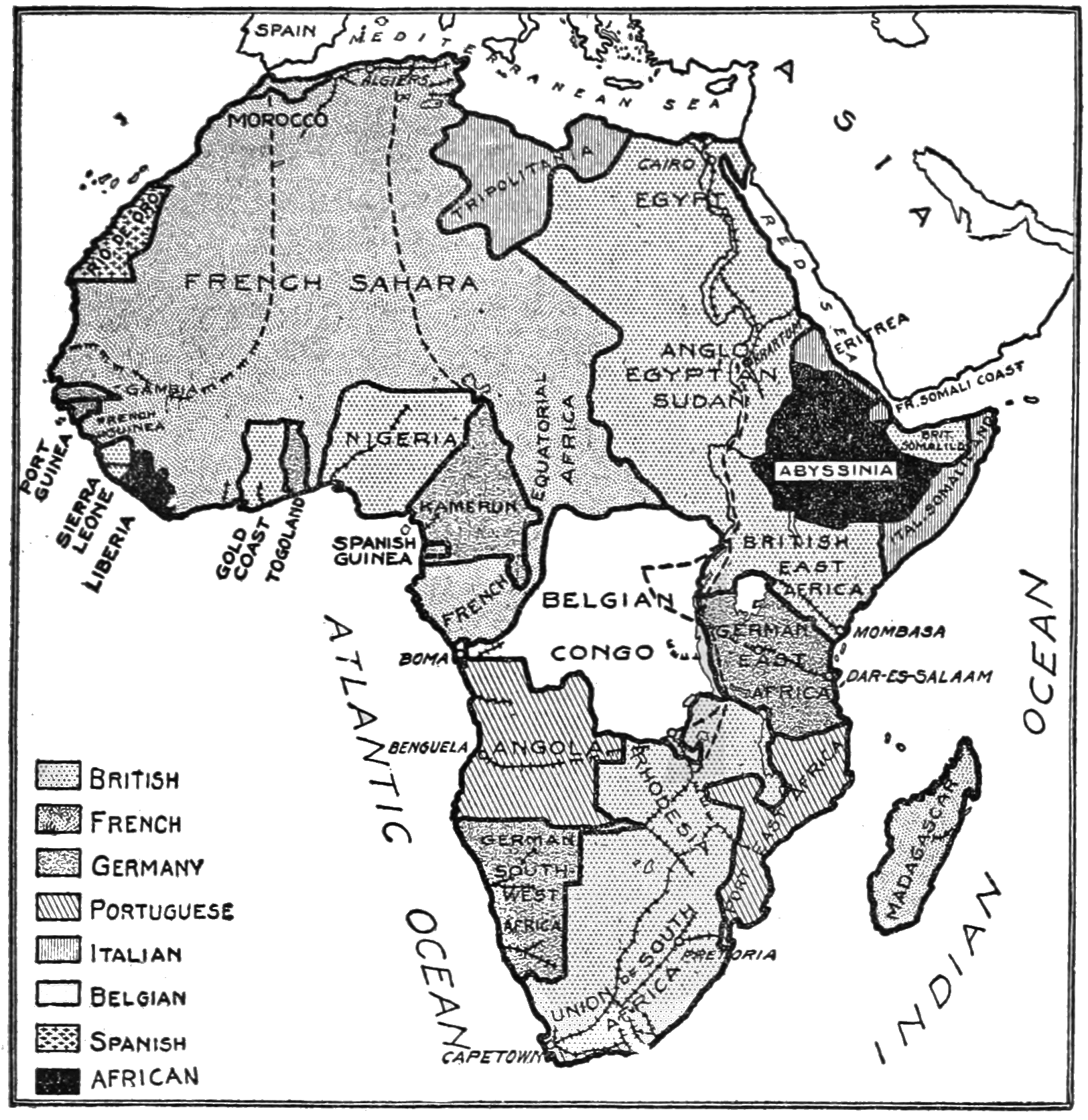 PSM V85 D315 Map of european possessions in africa.png