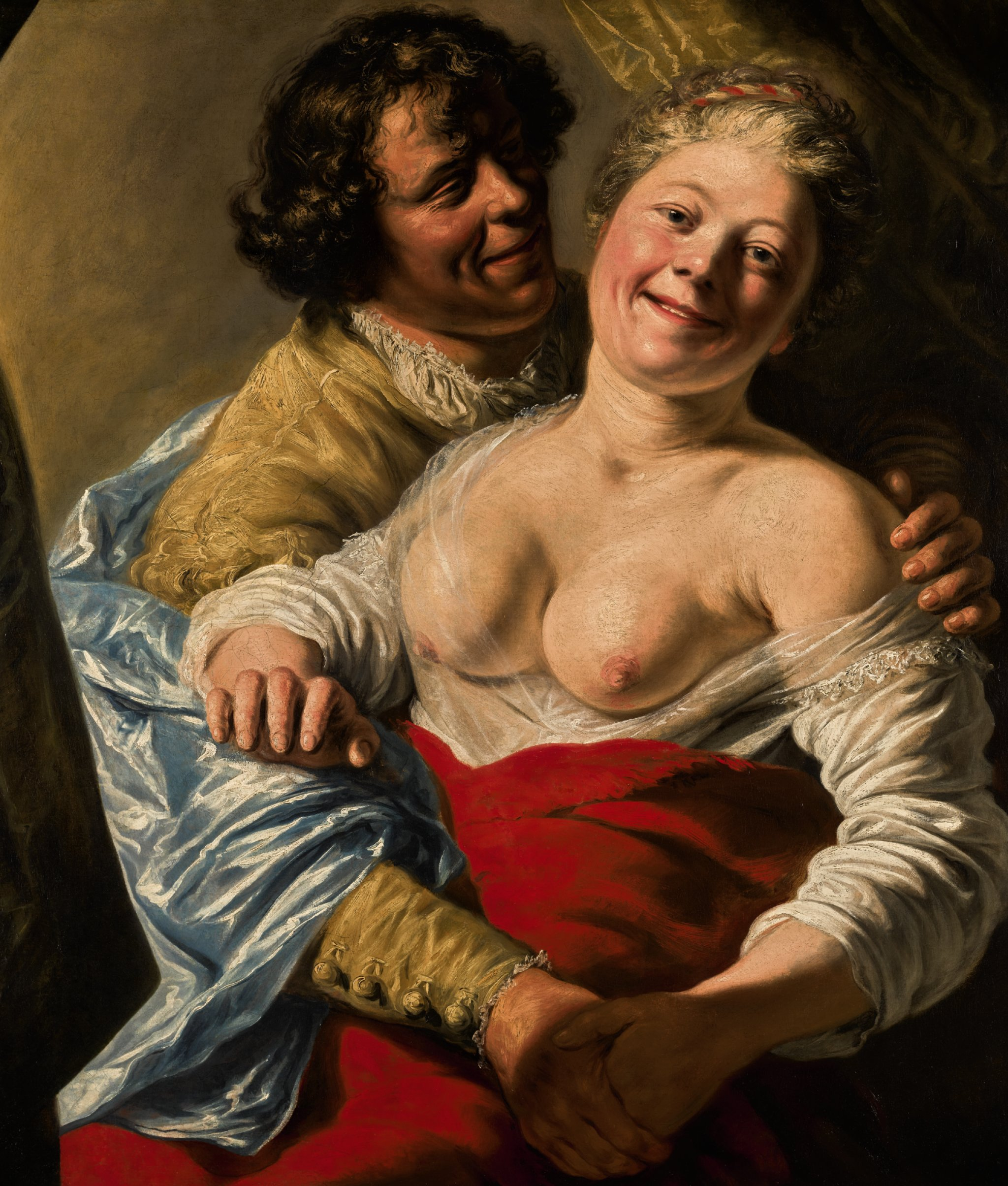 PaintingJanLievensYouthEmbracingAYoungWomanCirca1627to1628