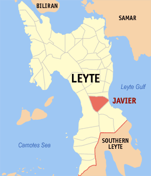 Map of Leyte showing the location of Javier