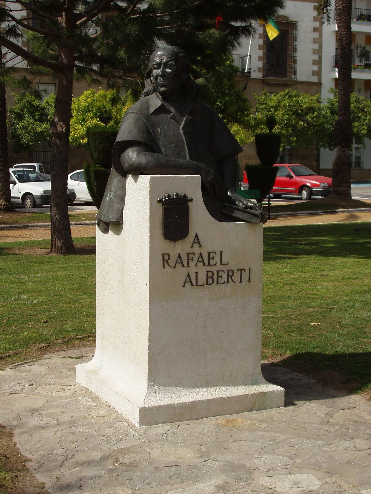 Monumento a Rafael Alberti en la plaza del Polvorista, en El Puerto de Santa María.