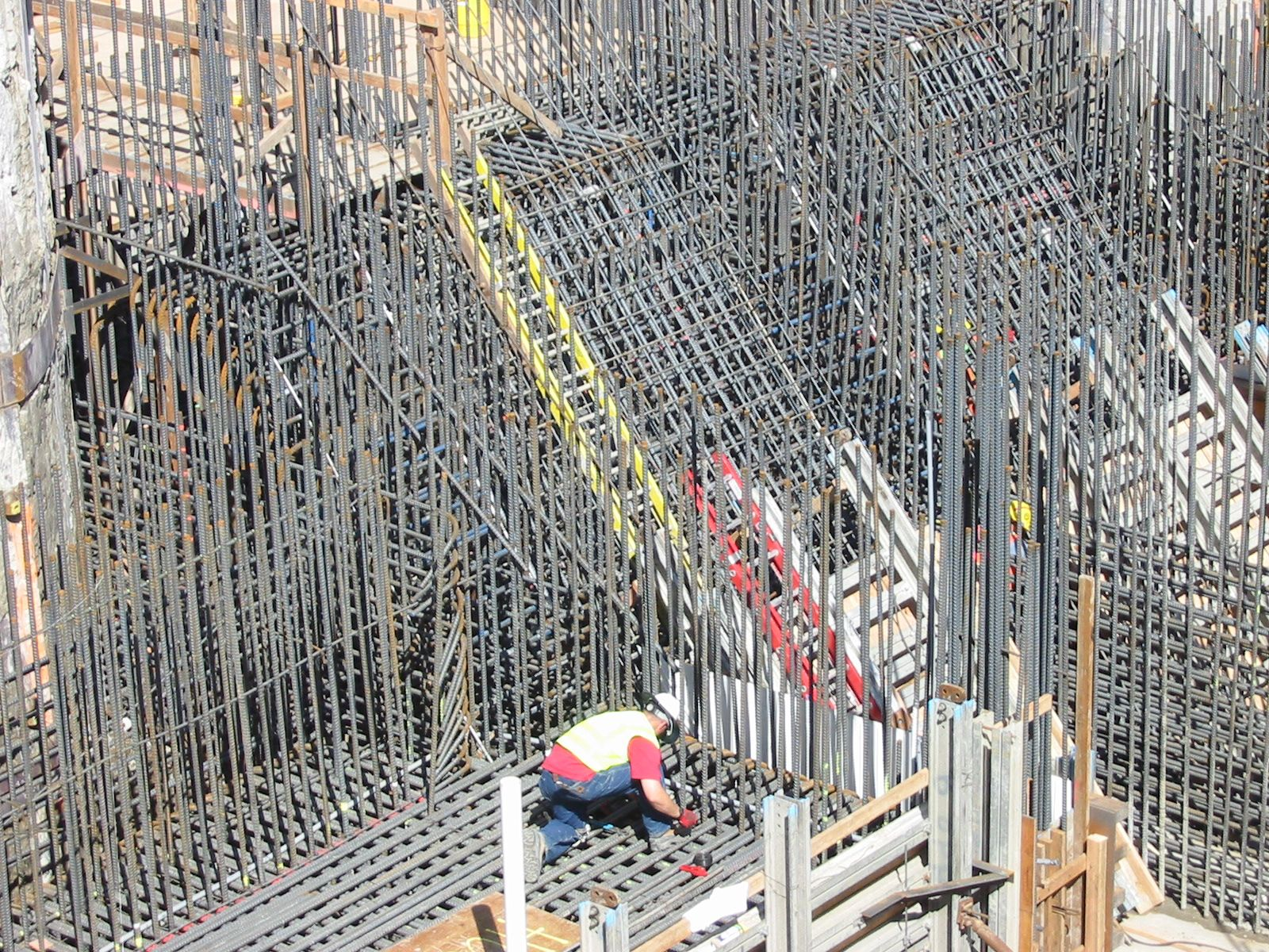 rebar for foundations and walls of a sewage pump station