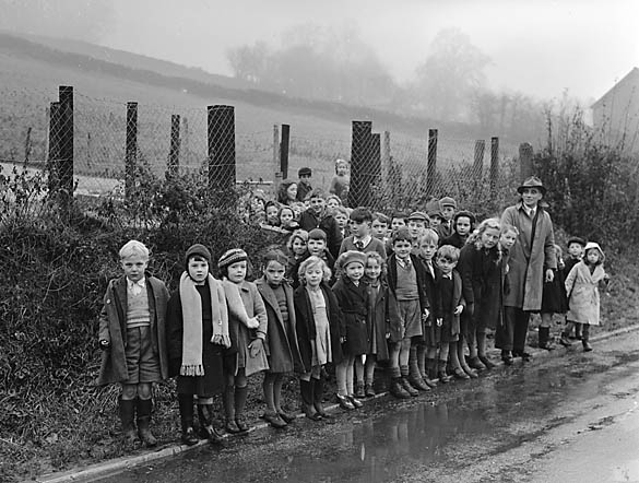 Road safety demonstration with Presteigne schoolchildren