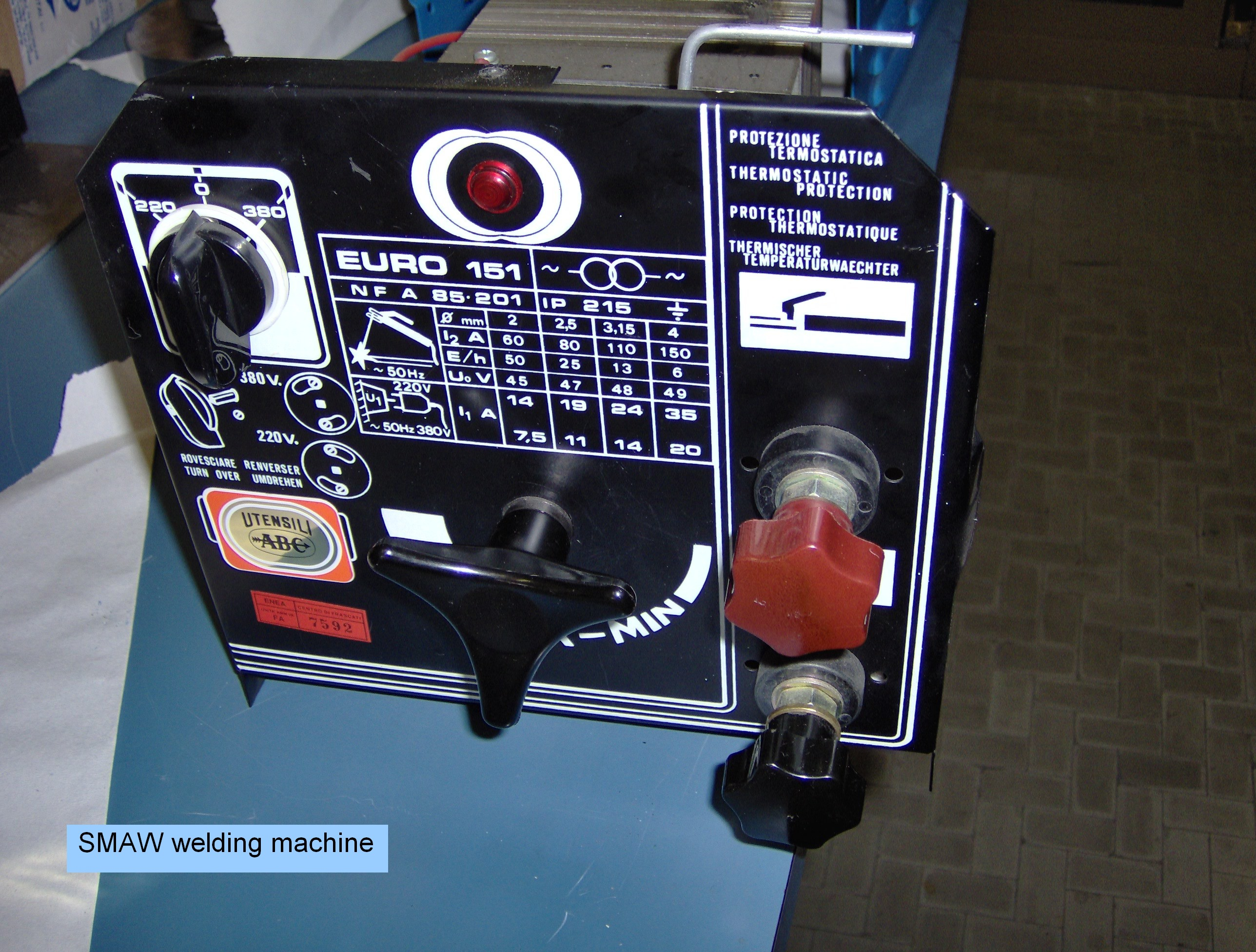 Welding SMAW http://commons.wikimedia.org/wiki/File:SMAW_Welding_machine-1.jpg