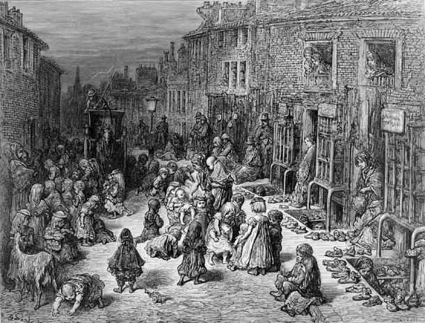 Taudis à Londres près de Covent Garden en 1872 Gravure de Gustave Doré.