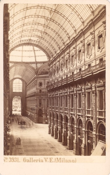 Galleria Vittorio Emanuele II in Milano was an architectural work created by Giuseppe Mengoni between 1865 and 1877 and named after the first King of Italy, Victor Emmanuel II. Sommer, Giorgio (1834-1914) - n. 3931 - Galleria V. E. (Milano).jpg