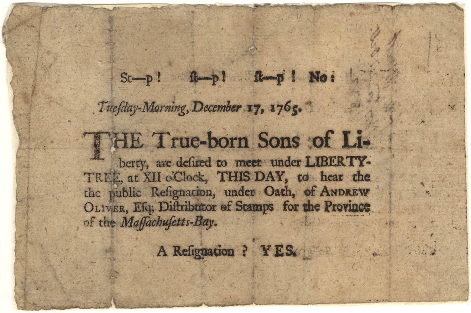 Sons of Liberty broadside, December 1765