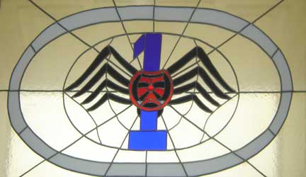 #1 squadron, stained glass spider, Stone Frigate, Royal Military College of Canada. Stone Frigate, 1 squadron, stained glass spider, Royal Military College of Canada.jpg