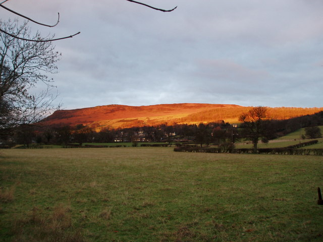 Sunset on Bamford Edge from Station Road - geograph.org.uk - 1579791