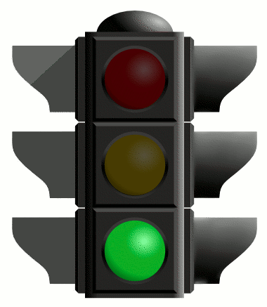 Traffic light shows a green light