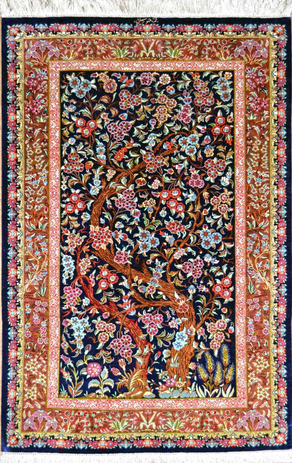 File Tree Of Life Pure Silk Qum Persian