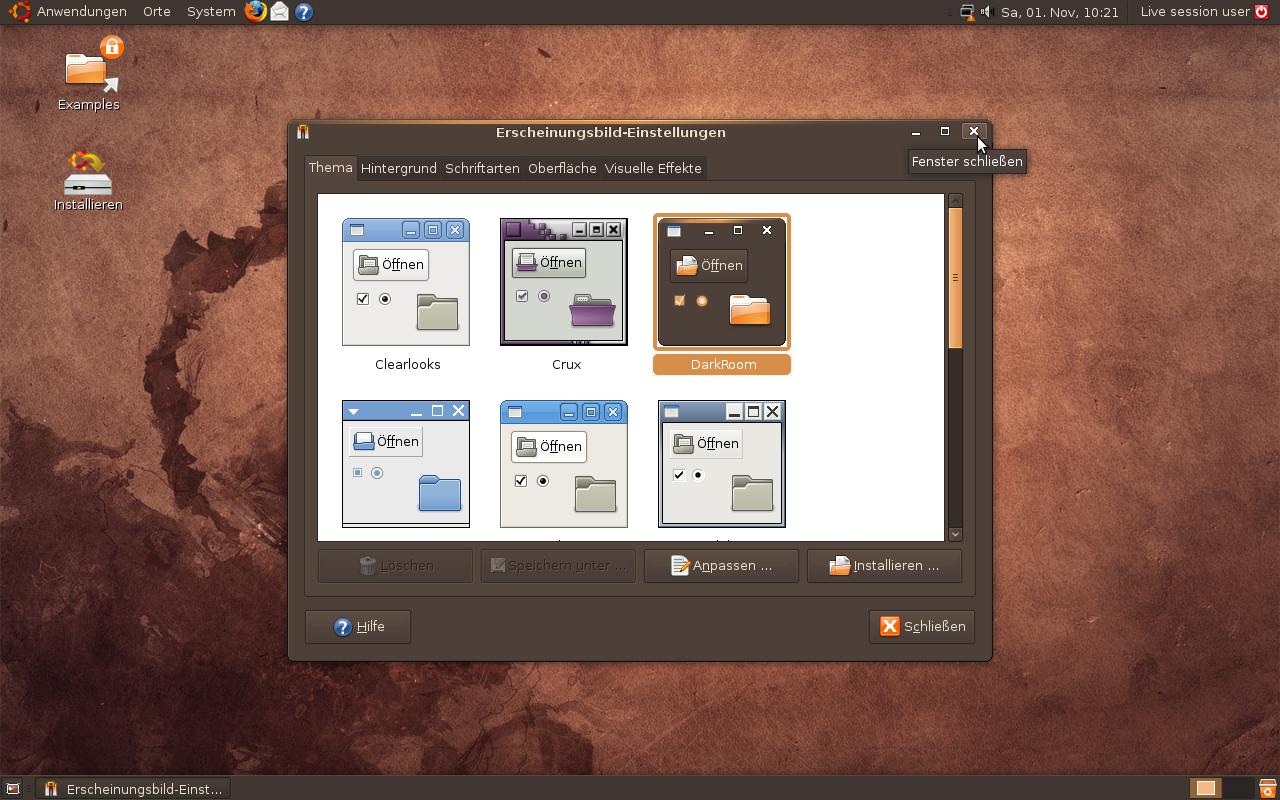 Ubuntu 8.10 mit DarkRoom-Standard-Thema