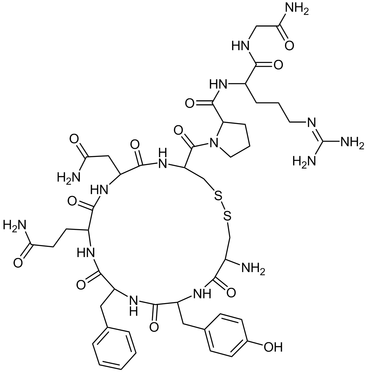 Vasopressine - Chemical formula of Vasopressin - Crazy-Chemist Own work with ChemDraw - Wikimedia Commons