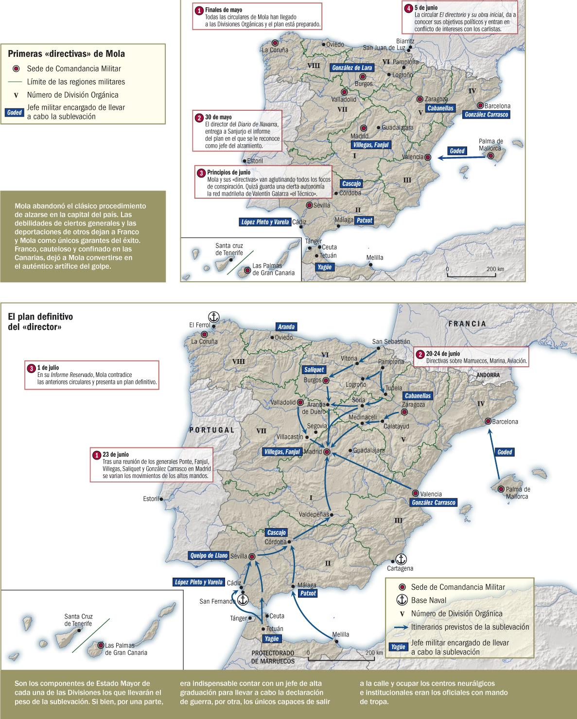 Mapas que representan los planes esbozados por Mola para dar el Golpe de Estado que derribase a la Segunda República.
