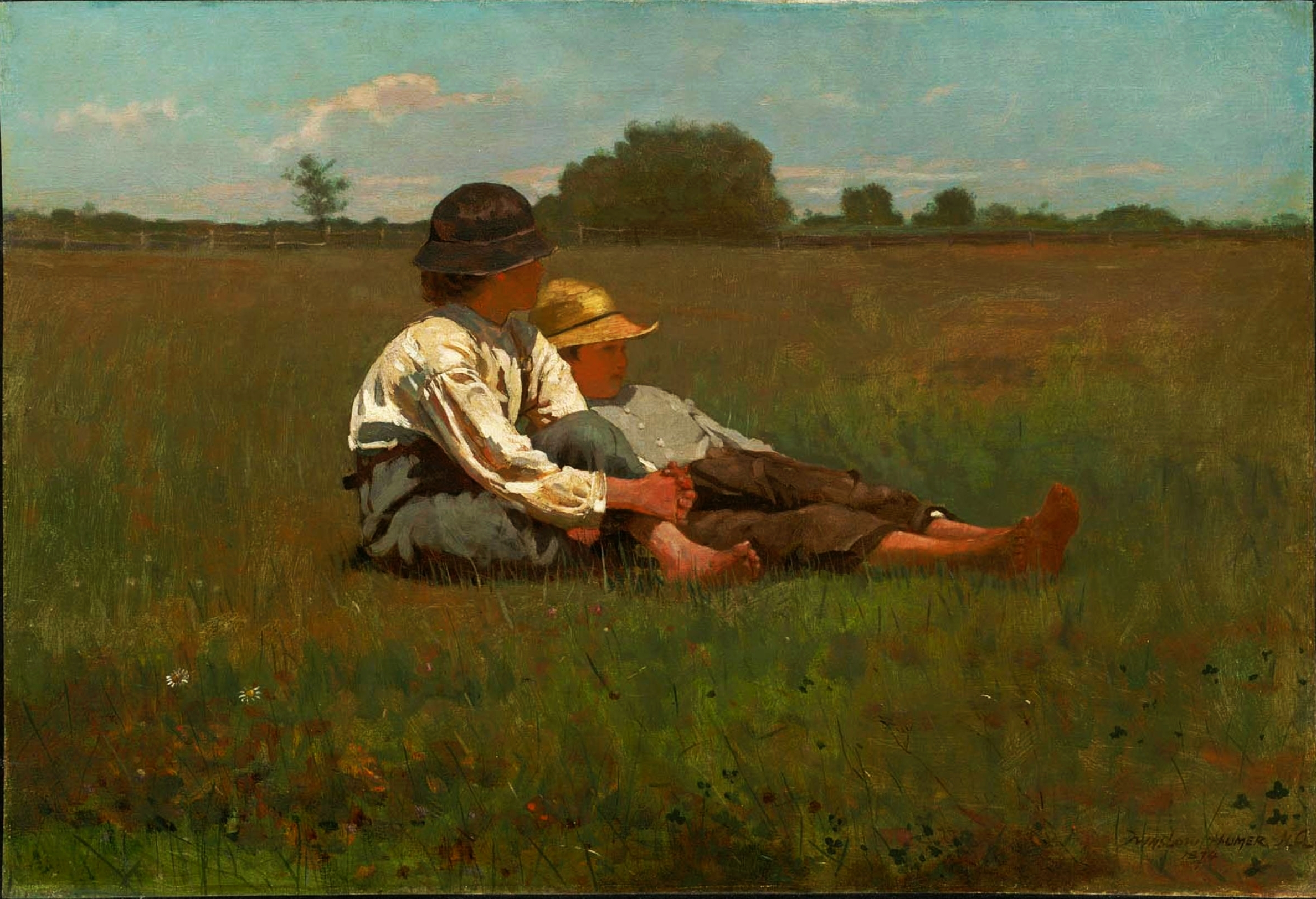 boys in a pasture by winslow homer
