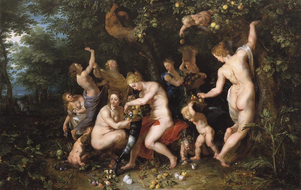 Nymphs filling the horn of plenty