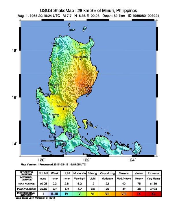 Usgs Earthquake Map >> 1968 Casiguran earthquake - Wikipedia