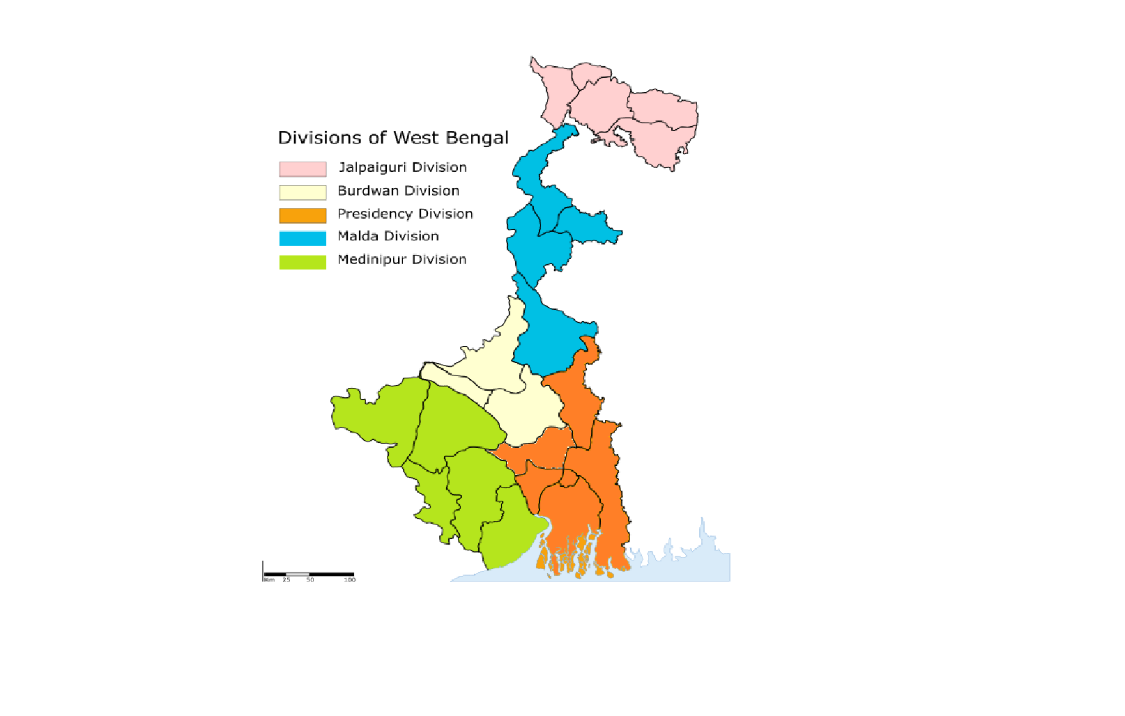 Map Of West File:Administrative Divisions Map of West Bengal.png   Wikipedia Map Of West