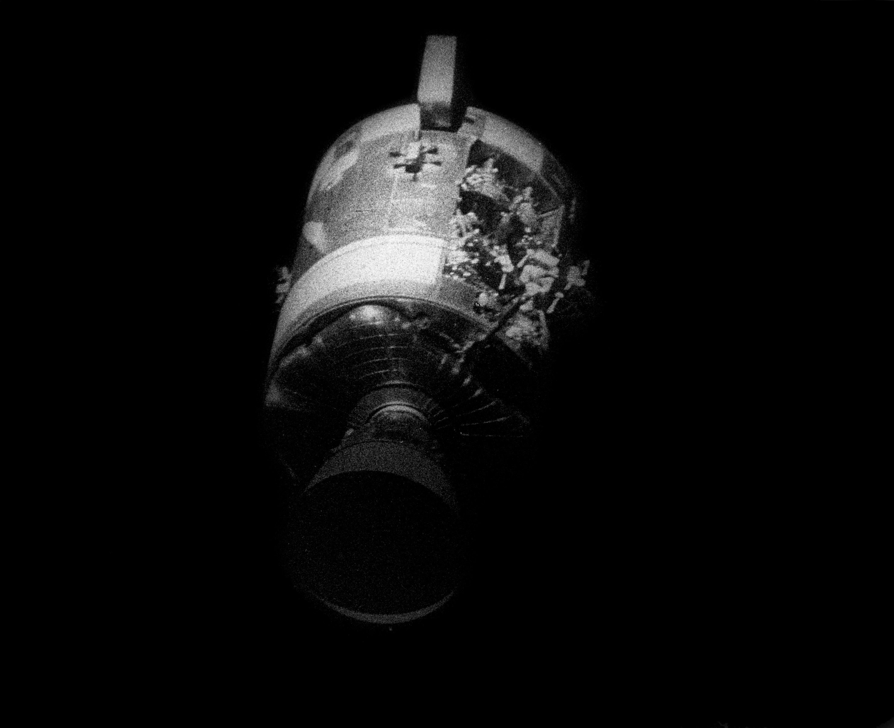 Apollo 13's Damaged Service Module after being jettisoned