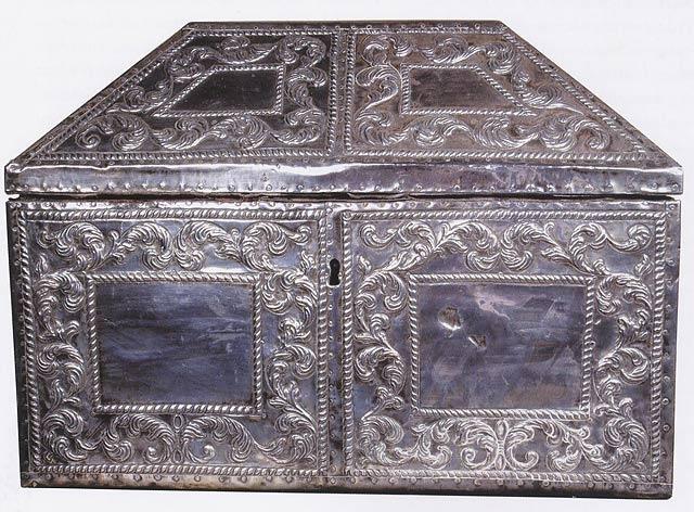 Sølvrelikvar med relikviene av de hellige Eulogius og Leocritia av Córdoba, i Camara Santa i katedralen i Oviedo