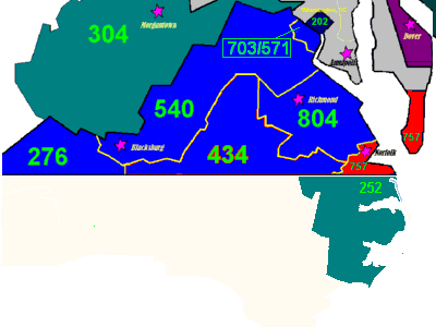The area colored red indicates the southeast corner of Virginia served by area code 757