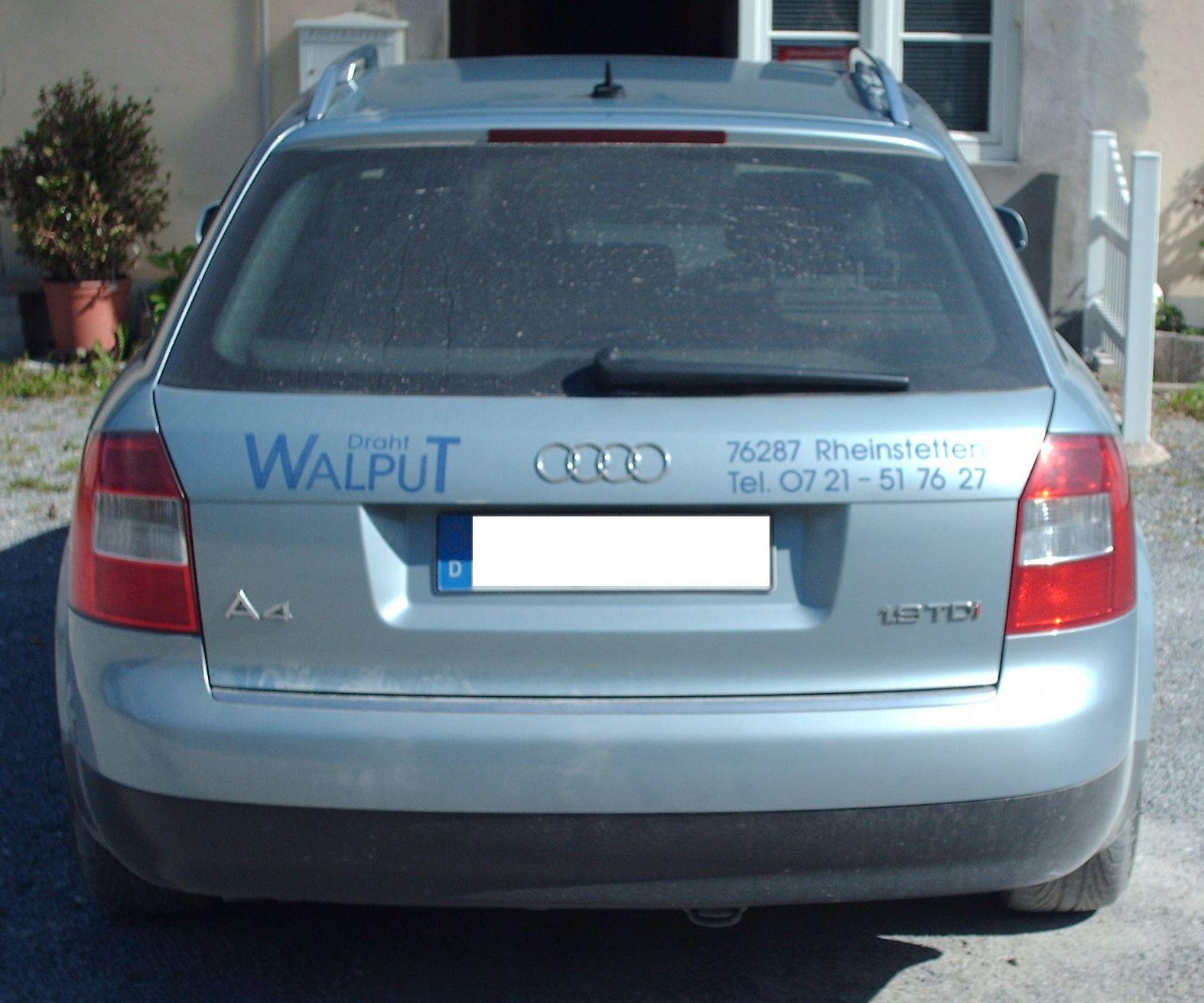 File:Audi A4 B6 Avant rear.JPG - Wikimedia Commons