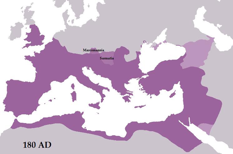 Das Römische Reich zum Ende der Herrschaft von Marcus Aurelius