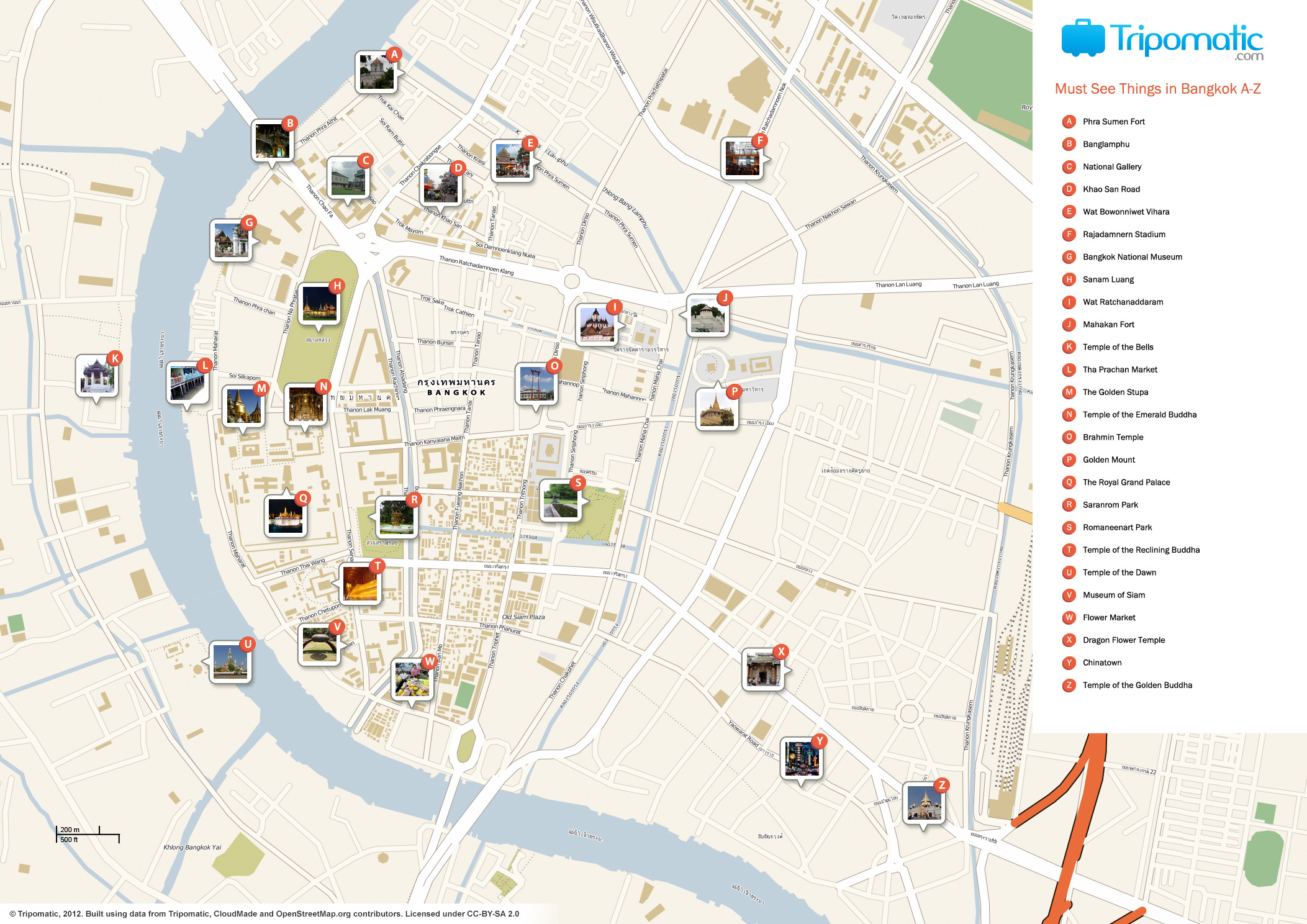 photograph relating to Printable Map of Thailand named History:Bangkok printable vacationer points of interest map.jpg