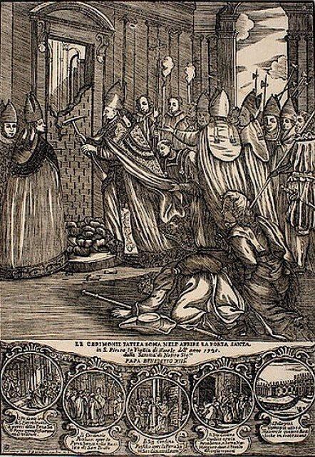 Darstellung des Öffnens einer Porta Sancta aus dem 18. Jahrhundert