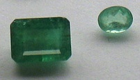 Faceted emerald gemstones