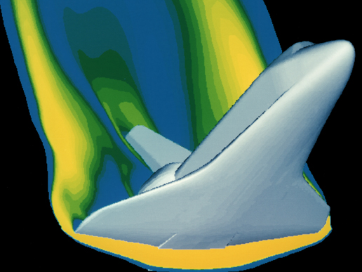 A computer simulation of high velocity air flow around the Space Shuttle during re-entry. Solutions to the flow require modelling of the combined effects of the fluid flow and heat equations.