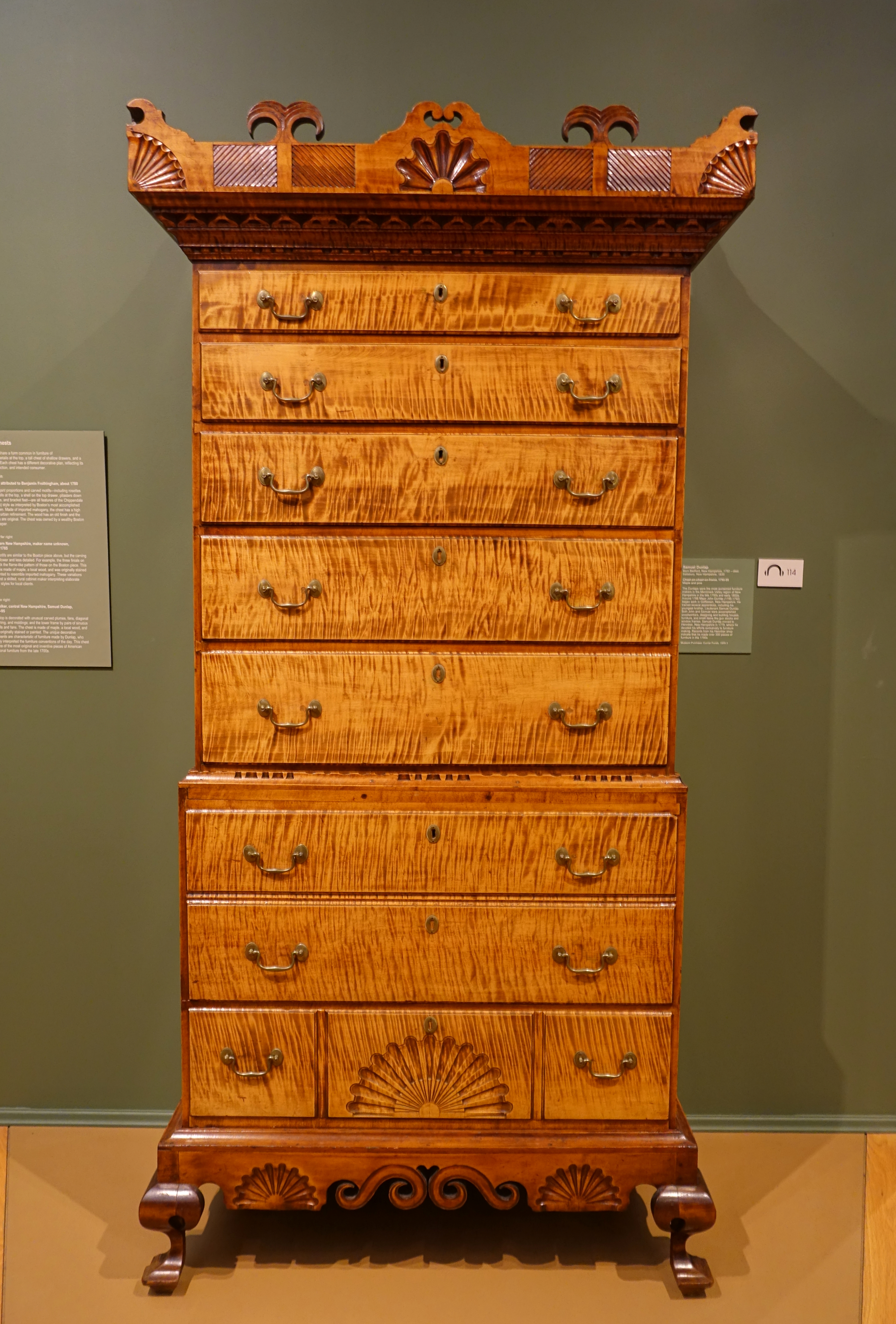 File:Chest On Chest On Frame, Samuel Dunlop (1752 1830), 1790 1795, Maple  And Pine   Currier Museum Of Art   Manchester, NH   DSC07641