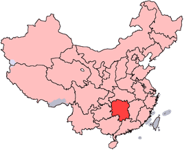 Hunan is highlighted on this map