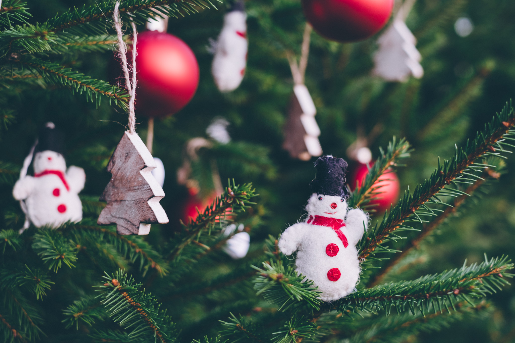 An image of Christmas tree decorations.