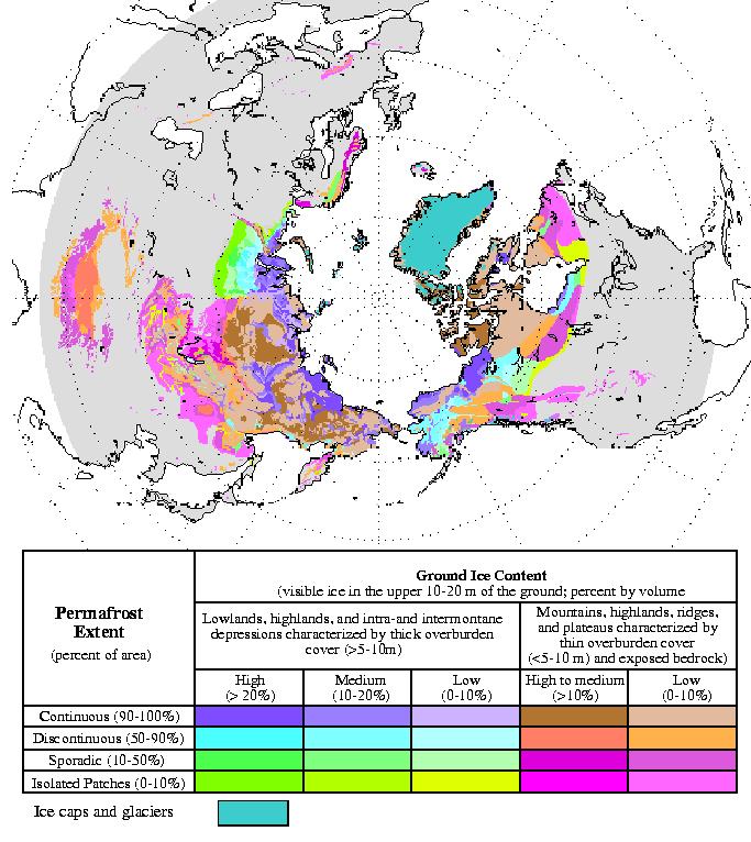 Mapa da área de permafrost no Ártico. Fonte: Wikipedia