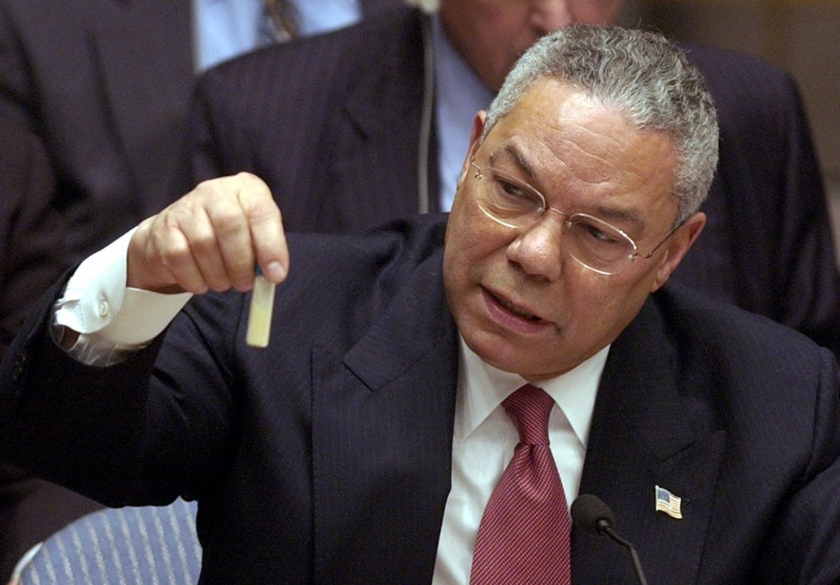 Colin Powell, the US Secretary of State, demonstrates a vial with alleged Iraqi chemical weapon probes to the UN Security Council on Iraq war hearings, 5 February 2003. Powell-anthrax-vial.jpg