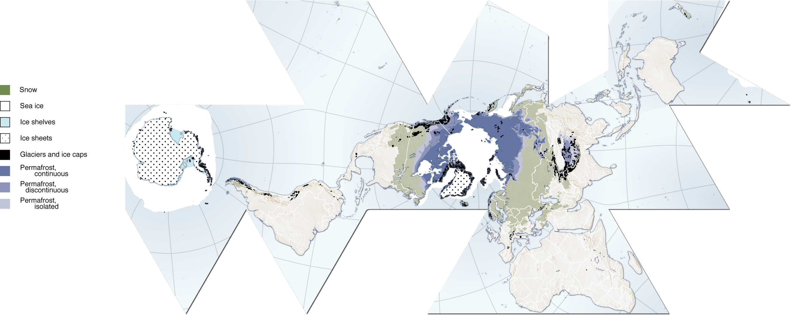 map of cryosphere