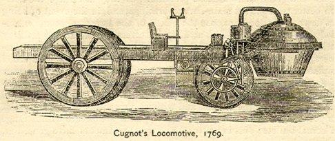Automóvil de vapor de Cugnot. Grabado del siglo XIX.