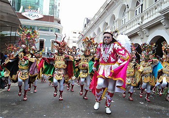 "The Diablada, dance primeval, typical and main of Carnival of Oruro a Masterpiece of the Oral and Intangible Heritage of Humanity since 2001 in Bolivia (File: Fraternidad Artistica y Cultural ""La Diablada"") Diablada oruro fraternidad.jpg"