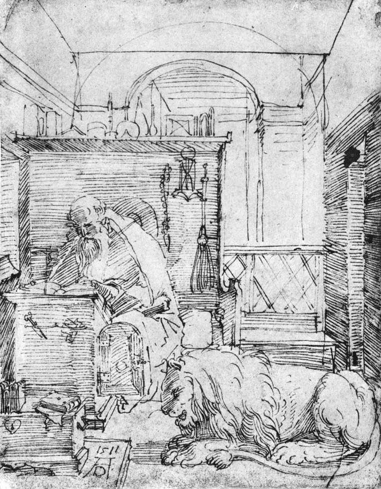 Durer, san girolamo en el estudio, penna, 1511.jpg