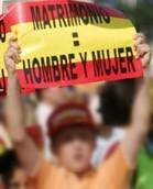 Manifestante del Foro de la Familia contra el matrimonio homosexual en España.